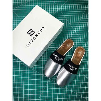 Givenchy Paris Logo Silver Sandals