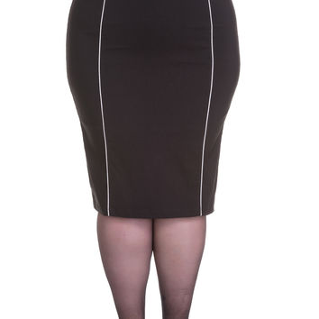 Hell Bunny Plus size Pinup Contrast Piping Black Fitted Wiggle Pencil Skirt with Belt