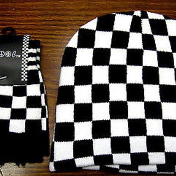 Black & White Checkered Checker Winter Beanie Ski Hat Cap + Matching Gloves-New!