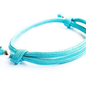 Teal Paracord Bracelet Adjustable Sliding Knot Sliver Beads