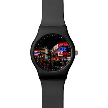 Fantasy Glowing Piccadilly London At Night Named Wristwatch
