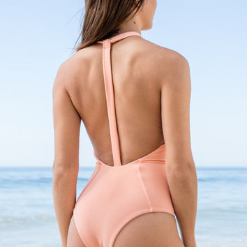 Mary Grace Swim - Body Gloved One Piece | Hot Apricot Rib