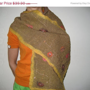 SALE Brown Mustard Nuno Felt Scarf Shawl Wrap: Wool, Silk, Embroidery. Splendid, Light and Bright. Double side.