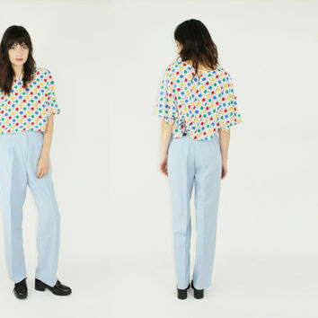 vtg 70s baby blue trousers high waisted slacks light blue pants retro pants mediumed med m