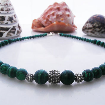 Green Malachite and 925 Sterling Silver Granulation Beads Necklace, Green Malachite and Sterling Silver Bali Beads Necklace
