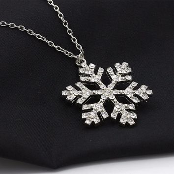 Rhinestone Snowflake Necklace Pendants Chain Necklace Jewelry Women 64+5cm Snow Pendant Necklace #30