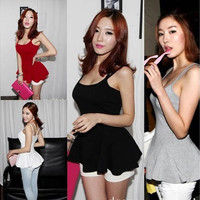 Korean Women Stylish Open Back Peplum Spaghetti Strap Cami Tee Tank Tops [8045403783]