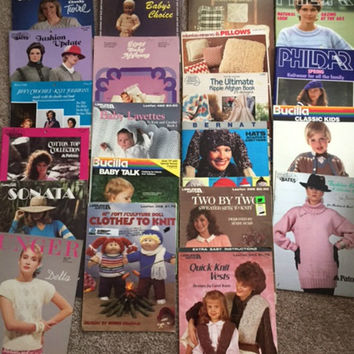 Lot 21 Vintage Knitting Pattern Crochet Patterns Unisex Adults Men Women Kids Baby Sweaters Fashions Hats Scarves