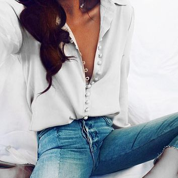 Women Casual Solid Long Sleeves white Blouse For Office