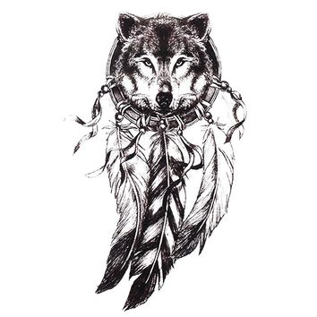 1pc Sketch Black Tattoo Sticker Women Men 3D Body Art Wolf Dreamcatcher Indian Feather Flower Temporary Tattoo Stickers