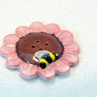 Ceramic Flower Bee Button by GrapeVineCeramicsGft on Etsy