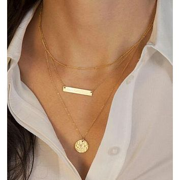 Trendy Gold Horizontal Bar Three Layers Necklace Body Jewelry