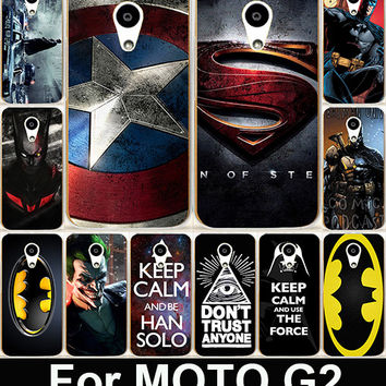 Captain America Bat man Hard PC & Soft TPU Painting Cell Phone Case Cover For Motorola Moto G2 G+1 XT1063 XT1068 XT1069 Shell