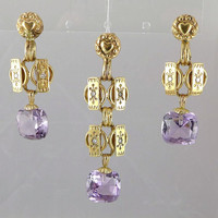 Antique Gold Amethyst Jewelry Set, European 14K Gold Amethyst Demi-Parure Earring Pendant Set, Something Old, Gifts for Her