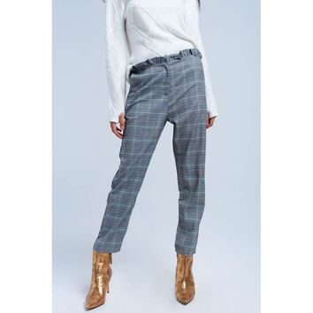 Red tartan pattern pants