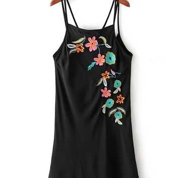 Black Flower Embroidered Double Strap Chiffon Cami Dress