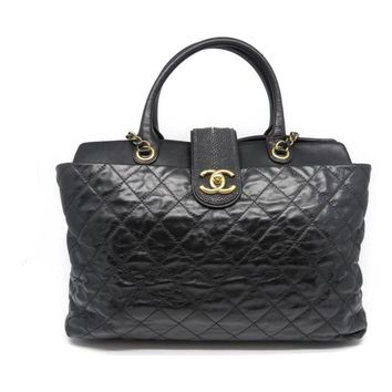 Chanel Quilted Calfskin Leather Chain Shoulder Tote Bag Black 9890