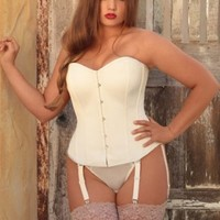 Plus Size Lingerie | Plus Size Corsets & Bustiers | Ainsley Raw Silk Steel Boned Corset | Hips & Curves