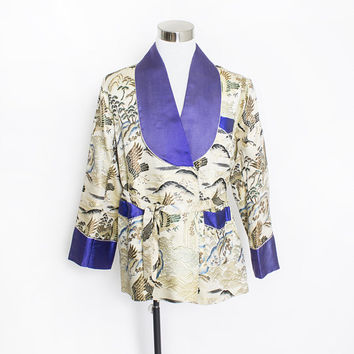 Vintage 1950s Smoking Jacket -  Men's Asian Brocade Silk Metallic Blue Jacket - Large 48""