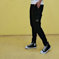 """""""Stone Island"""" Men Casual Letter Print Pocket Compass Sweatpants Couple Thickened Leisure Pants Trousers"""
