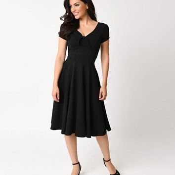 Unique Vintage 1940s Style Black Knit Short Sleeve Natalie Swing Dress