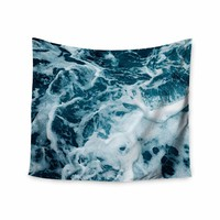 Stirred Ocean - Blue White Coastal Photography Wall Tapestry