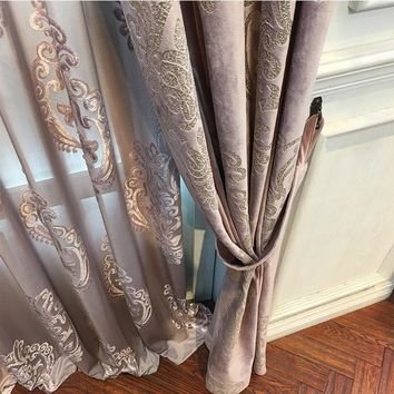 High-End Velvet Gilded Curtains for Living, Dining Room, Bedroom