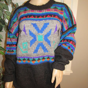 ON SALE Vtg 70s 80s Tribal Sweater / Handmade Sweater Bolivia / Aztec / Inca / Boho Chic Sweater Jumper / Chunky Knit / Alpaca Wool Bolivian