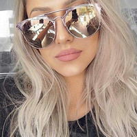 Round Aviator mirrored sunglasses
