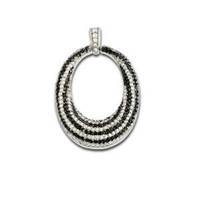 Fashion Necklace Fancy Pendant Jewelry 925 Sterling Silver Black and White Clear CZ Open Oval Design Free chain included