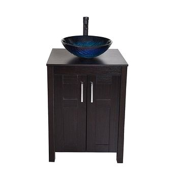 Modern Bathroom Vanity Set with Dark Brown Cabinet Blue Glass Sink Top and Faucet