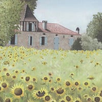 French Sunflower Landscape Print with Stone Building - South-West Rural France Plein Air Painting