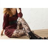 #gib New Stockings Sexy Women Floral Rose Lace Pantyhose Ladies Mesh Tights