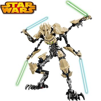 32cm Star Wars legoe blocks 7 General Grievous with Lightsaber Figure toys building blocks compatible with legoe Star Wars