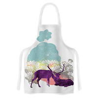 """Frederic Levy-Hadida """"Tenderness"""" White Purple Artistic Apron"""