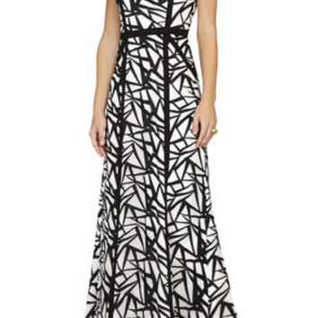 Black/White BCBG Daniela Round-Neck Sleeveless Gown