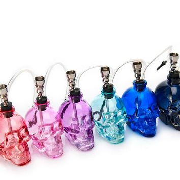 1PC Top Brand Skull Head 6 Colors Glass Water Pipe Smoking Tobacco Herb Mini Shisha Narguile Gifts for Smoker Portable Hookah