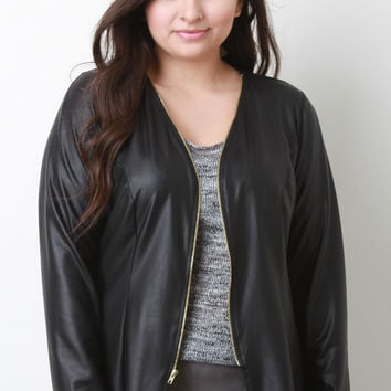 Vegan Leather Collarless Jacket