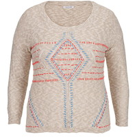 Plus Size - 3/4 Sleeve Embroidered Front Sweater - Multi