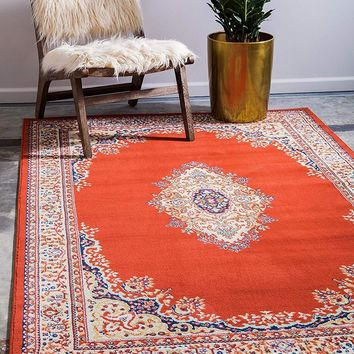 5105 Terracotta Medallion Mashad Oriental Area Rugs
