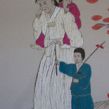 Vintage Korean Silk Embroidery  Figures Blossom Tree