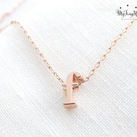 Lowercase Initial Necklace Rose Gold Letter Necklace Rose Gold Initial Necklace Dainty handmade Necklace Bridesmaid jewelry Wedding