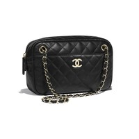 Lambskin & Gold-Tone Metal Black Camera Case | CHANEL