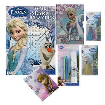 Frozen for Girls Gift Set with Journal and Lock, Rolling Art KIt, Word Search Coloring Book, Crayons, Elsa and Anna Figurines, Holiday, Birthday, Anytime