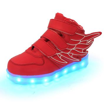 2017 super quality hot led shoes for kids, usb charge wings lighted superstar kids led shoes, girls boys led shoes