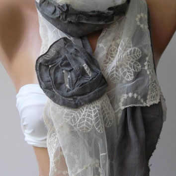 Grey - Roses /Elegant /Shawl / Scarf with Lace Edge