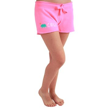 Cali Bear Women's Fleece Shorts Neon Pink
