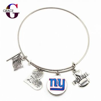New York Giants Adjustable I Love Football Expandable Women&Men Bangle Bracelets With Ginger Snaps Buttons Jewelry Sports Charms