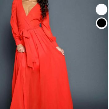 Faux Wrap Long Sleeve Full Maxi Dress