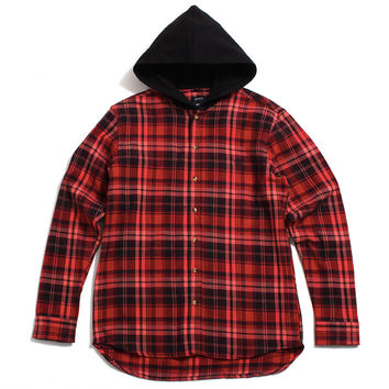 CB's Hooded Flannel Button-Up Shirt Red / Black